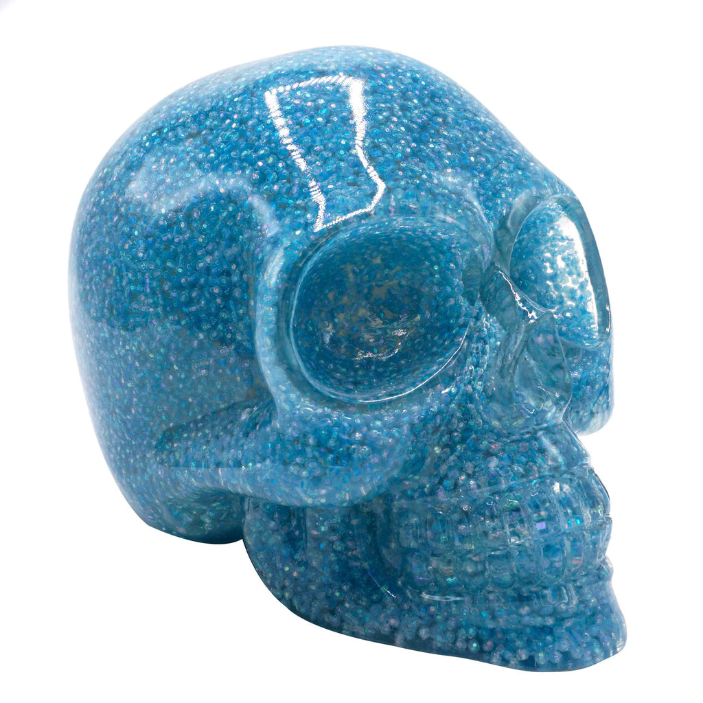 CLEAR RESIN SKULL - BLUE BALLS
