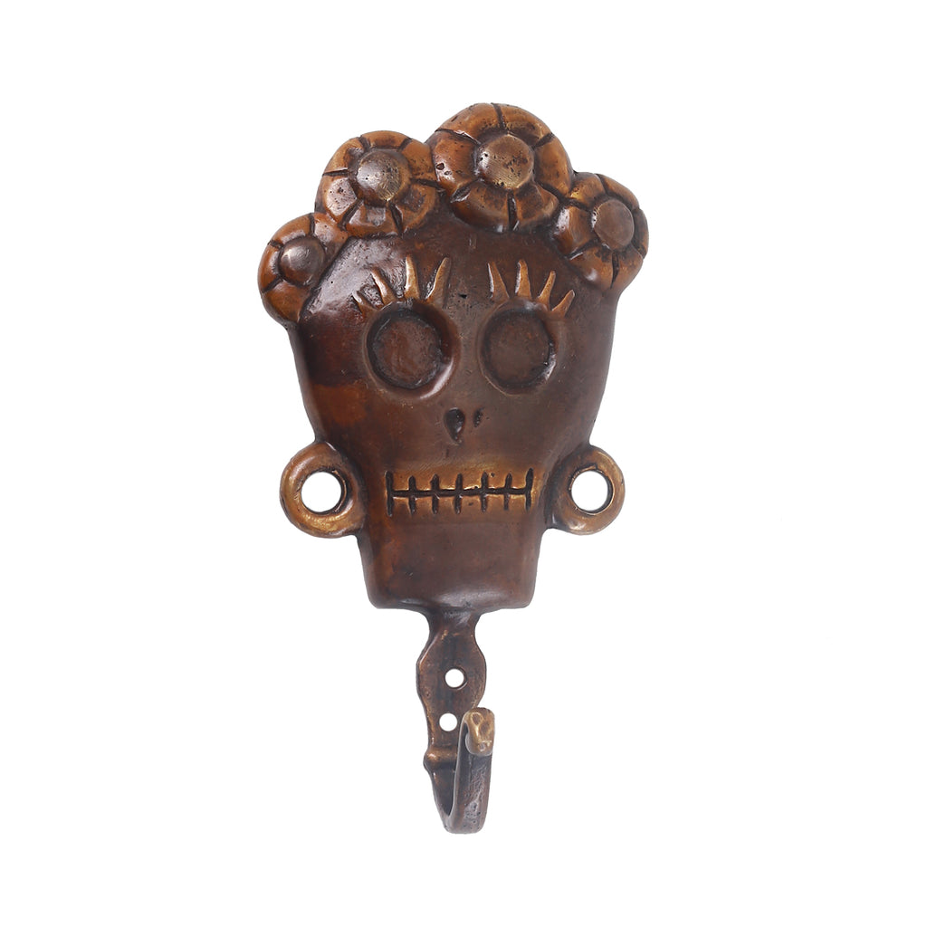 SKULL BRONZE COAT HANGER FEMALE - BROWN