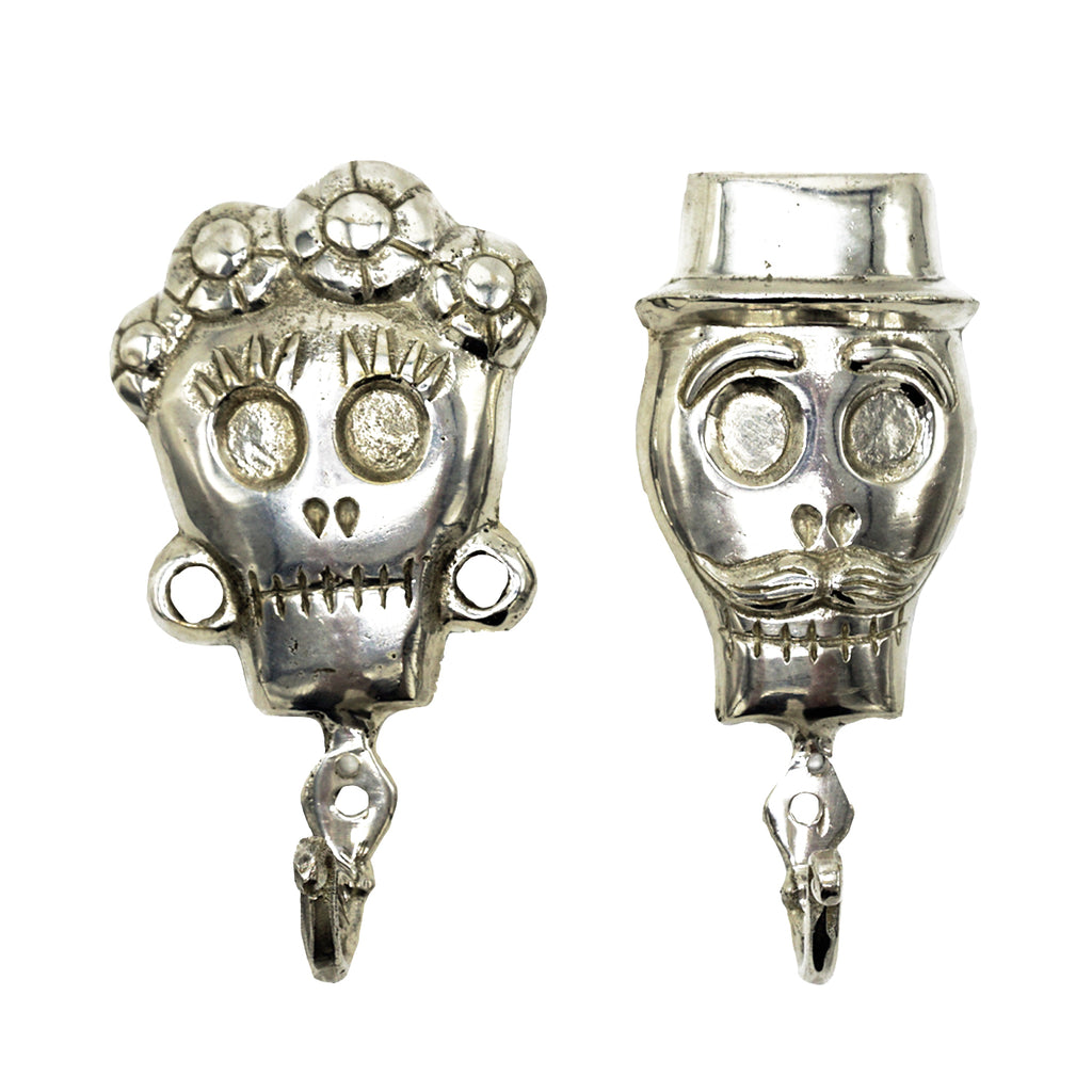 SKULL BRONZE COAT HANGER FEMALE - SILVER