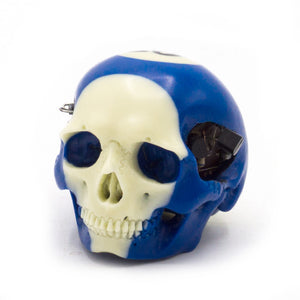 HAND CARVED BIONIC POOL BALL SKULL - BLUE #10