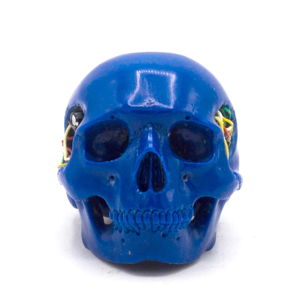 HAND CARVED BIONIC POOL BALL SKULL - BLUE #2
