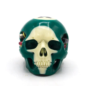 HAND CARVED BIONIC POOL BALL SKULL - GREEN #14