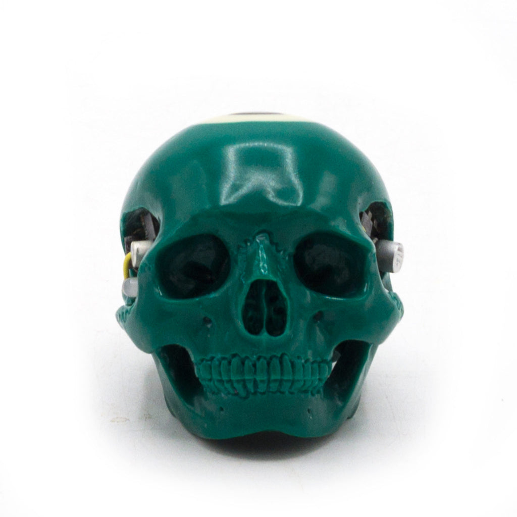 HAND CARVED BIONIC POOL BALL SKULL - GREEN #6