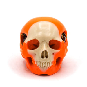 HAND CARVED BIONIC POOL BALL SKULL - ORANGE #13