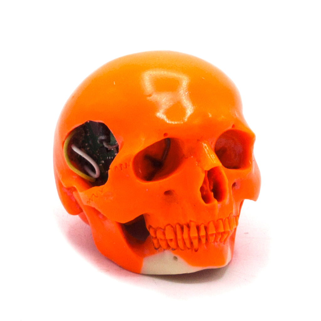 HAND CARVED BIONIC POOL BALL SKULL - ORANGE #5