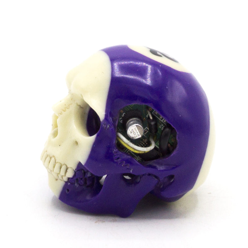 HAND CARVED BIONIC POOL BALL SKULL - PURPLE #12