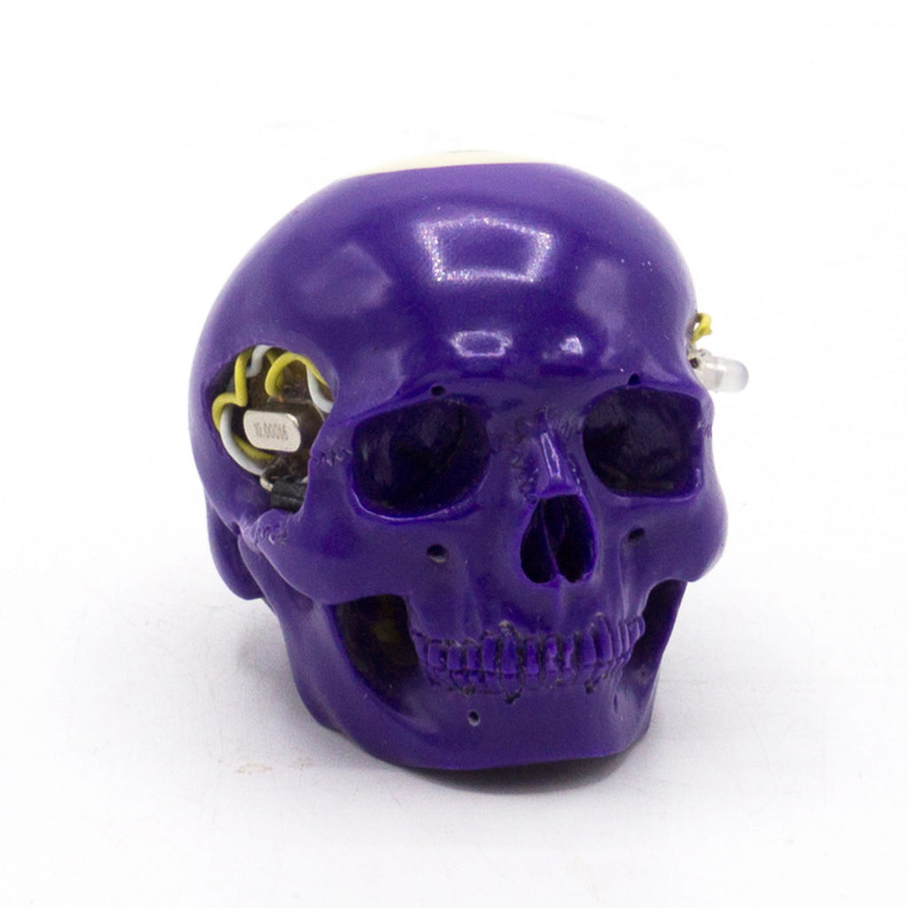 HAND CARVED BIONIC POOL BALL SKULL - PURPLE #4