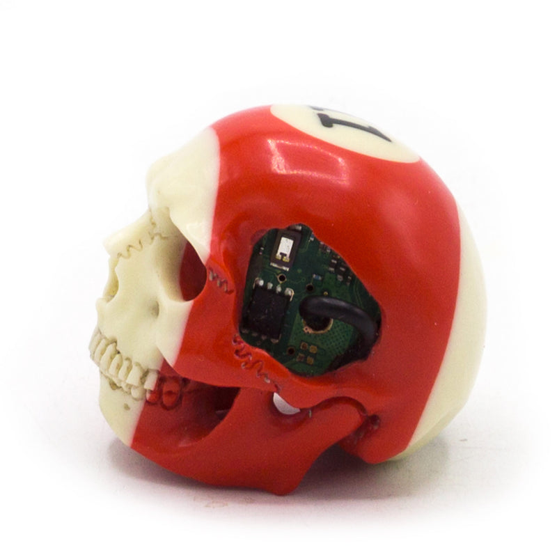 HAND CARVED BIONIC POOL BALL SKULL - RED #11