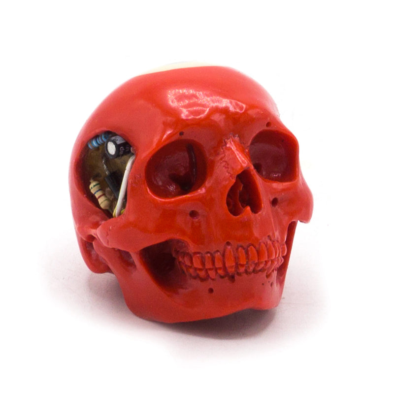 HAND CARVED BIONIC POOL BALL SKULL - RED #3