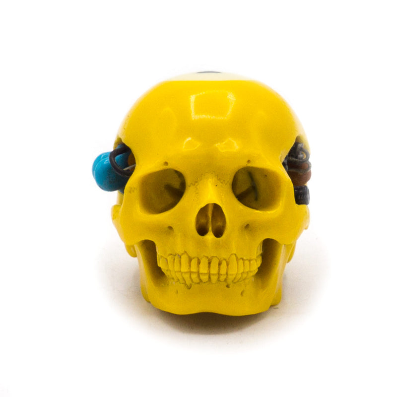 HAND CARVED BIONIC POOL BALL SKULL - YELLOW #1