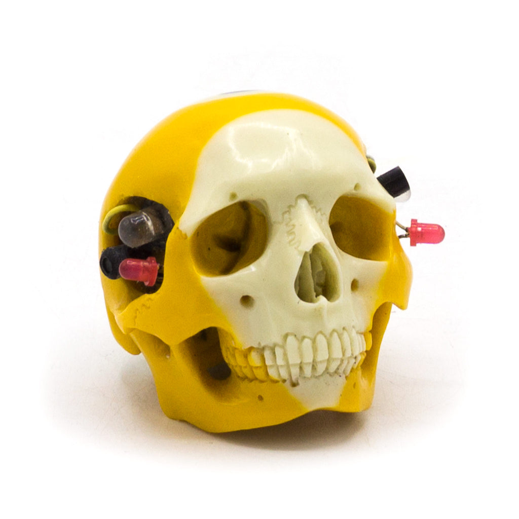 HAND CARVED BIONIC POOL BALL SKULL - YELLOW #9