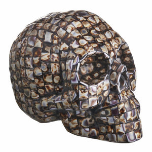 COWRY MOSAIC SHELL SKULL - LARGE - 'KEEP CALM AND COWRY ON'