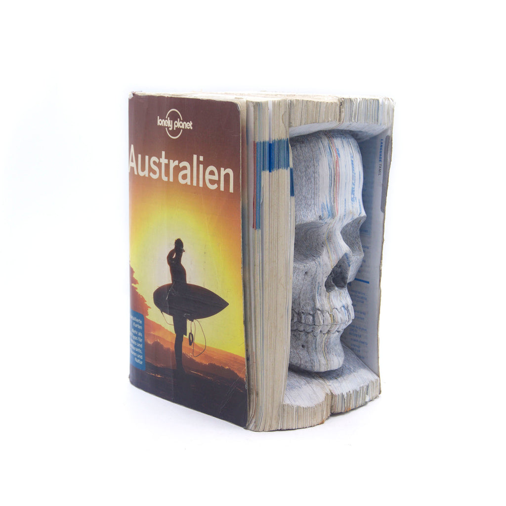 HAND CARVED LONELY PLANET BOOK GUIDE - MEDIUM - 'VERY LONELY PLANET'