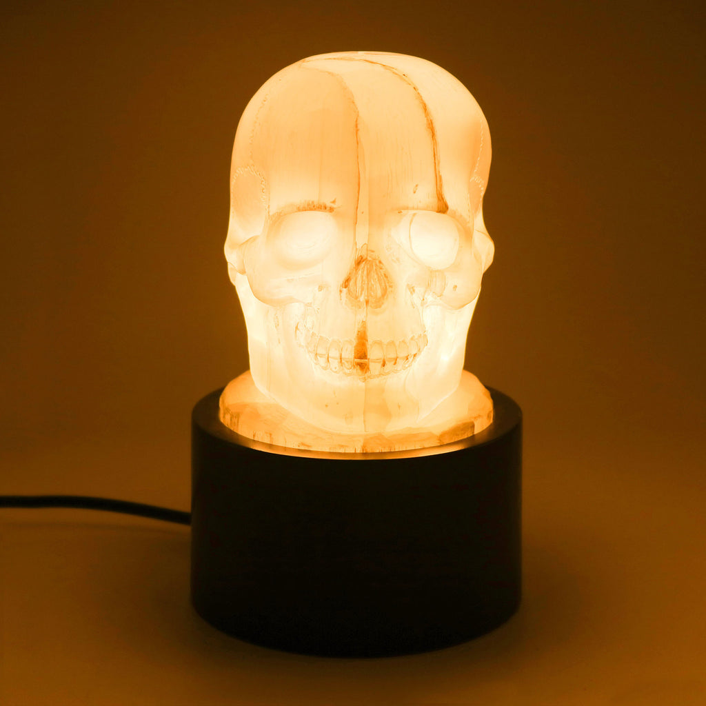 HAND CARVED SELENITE SKULL LAMP WITH WOOD BASE
