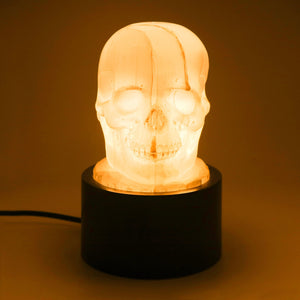 HAND CARVED SELENITE SKULL LAMP WITH WOOD BASE - 'HEAD LAMP'