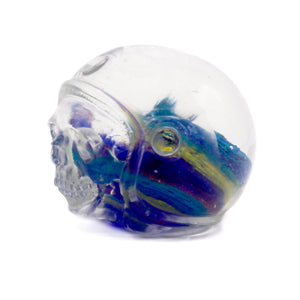 HAND CARVED PAPER WEIGHT GLASS SKULL - SMALL - 'MULTIVERSED'