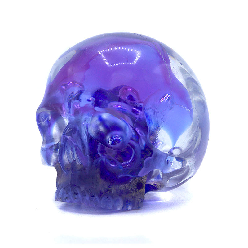 HAND CARVED GLASS PAPER WEIGHT SKULL - SMALL