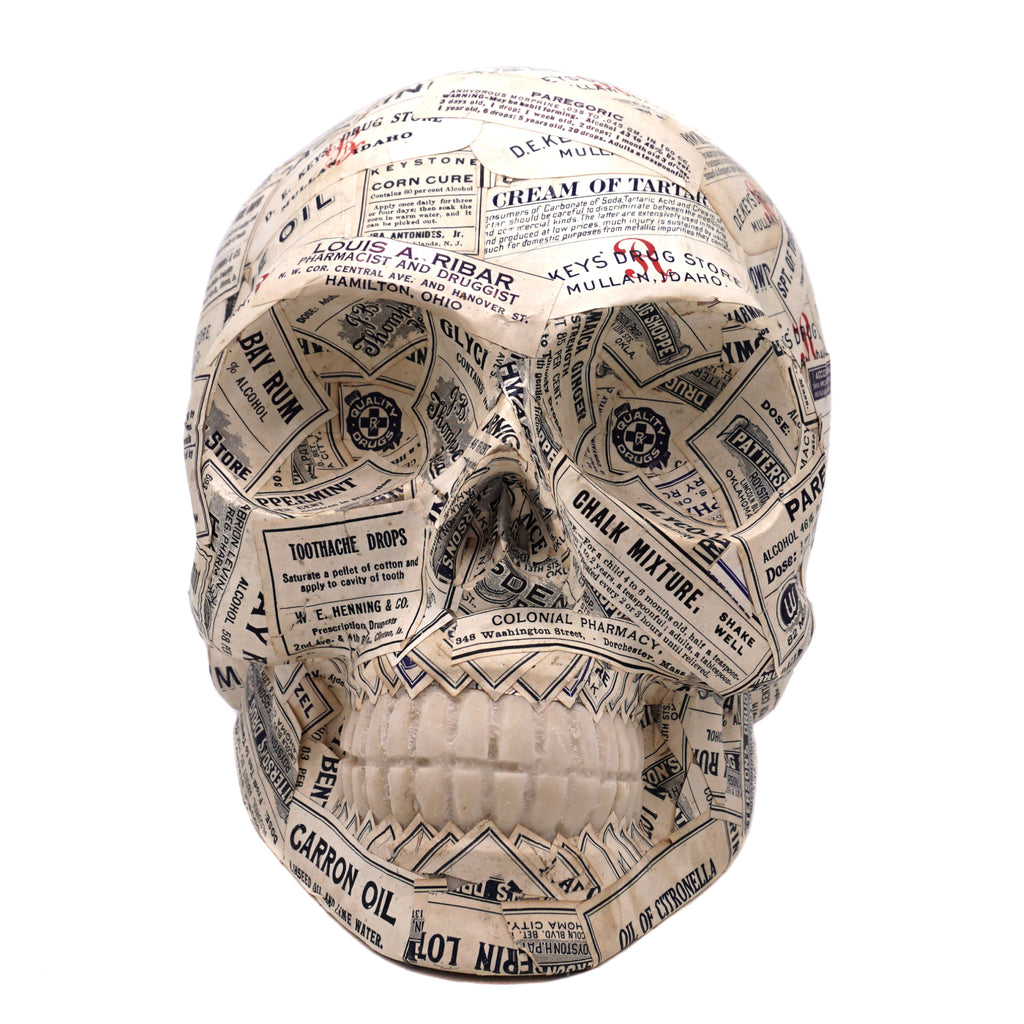 ANTIQUE APOTHECARY LABEL RESIN SKULL - LARGE - 1 - 'SELF MEDICATED'