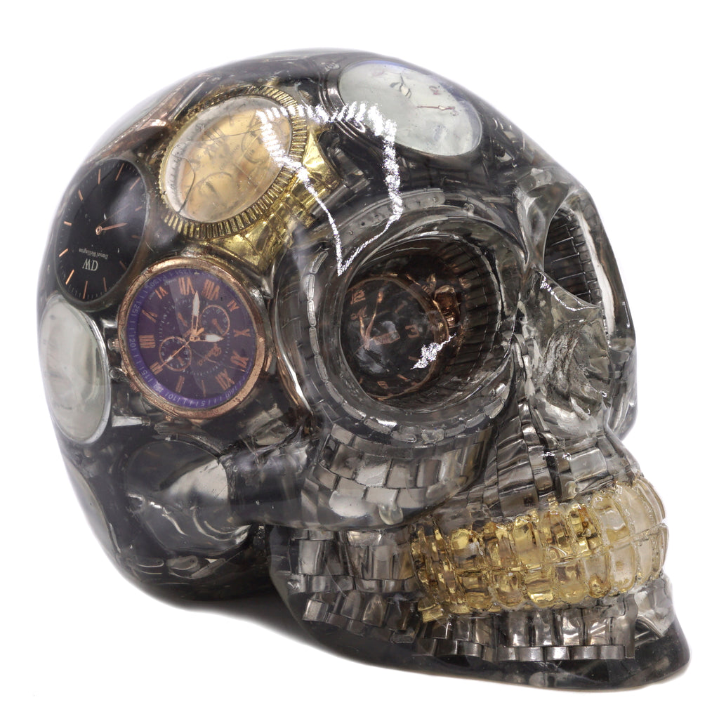 NOT ENOUGH TIME VINTAGE RESIN SKULL ART WATCHES HOME DECORATION - LARGE