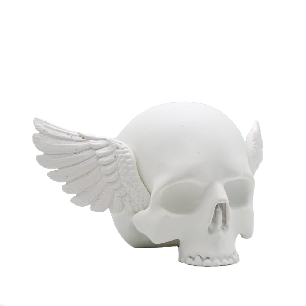 'MERCURY RISING' - NO JAW WINGED SKULL - MATTE WHITE