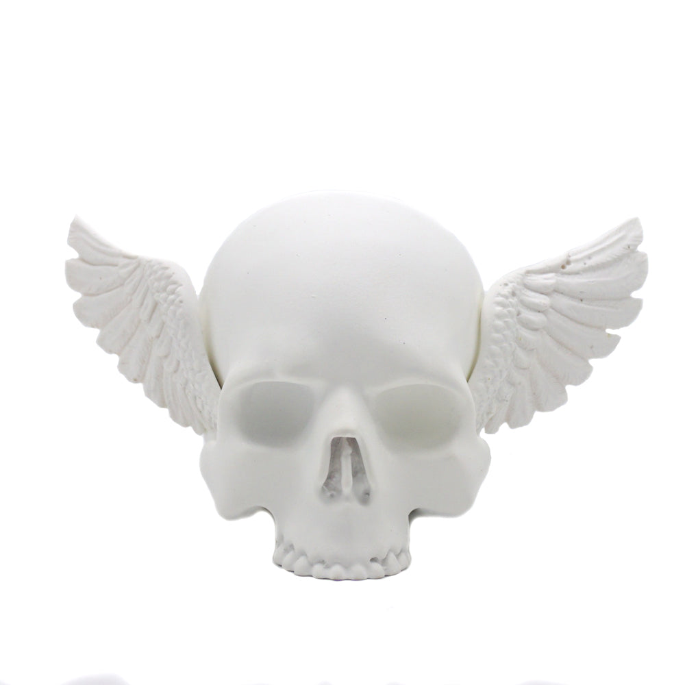 SMALL RESIN SKULL NO JAW WINGED SKULL - MATTE WHITE - 'MERCURY RISING' -
