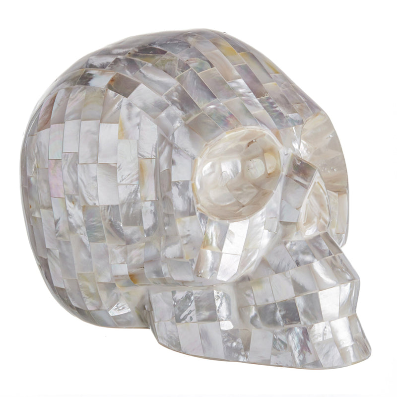 WHITE MOTHER OF PEARL MOSAIC SHELL SKULL - LARGE