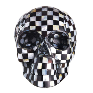 BLACK & WHITE MOTHER OF PEARL CHECK MOSAIC SHELL SKULL - LARGE