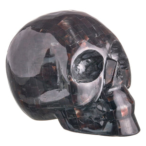 BLACK MOTHER OF PEARL MOSAIC SHELL SKULL - LARGE