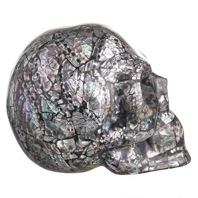 LIGHT BLACK LOCAL ABALONE MOSAIC SHELL SKULL - LARGE