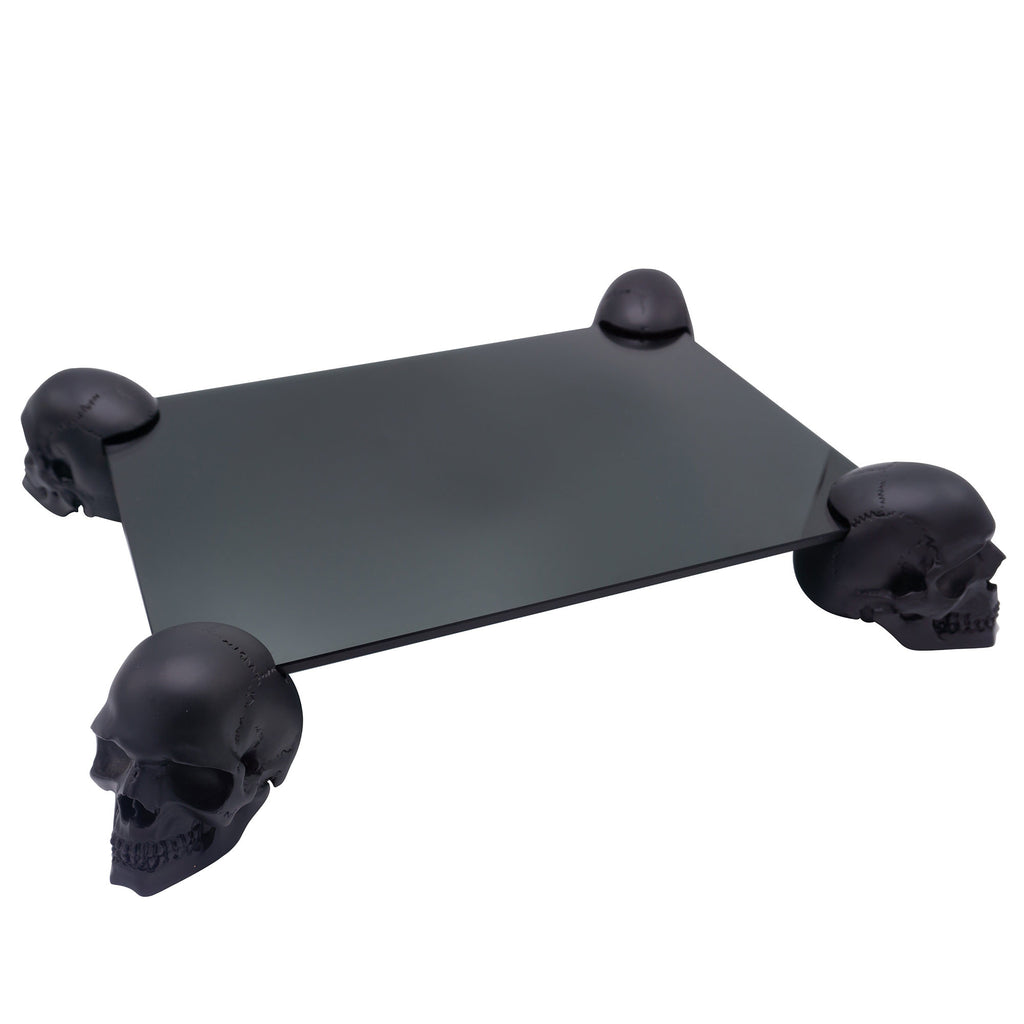 MINI SKULL TABLE - RESIN AND GLASS - MATTE BLACK - 'FOUR OF A KIND'