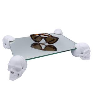 MINI SKULL TABLE - RESIN AND GLASS - MATTE WHITE - 'FOUR OF A KIND'