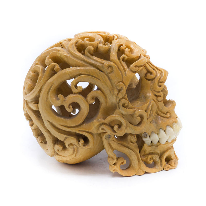 HAND CARVED FILIGREE WOOD SKULL - SMALL