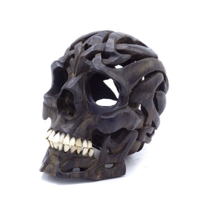 HAND CARVED TRIBAL WOOD SKULL - SMALL
