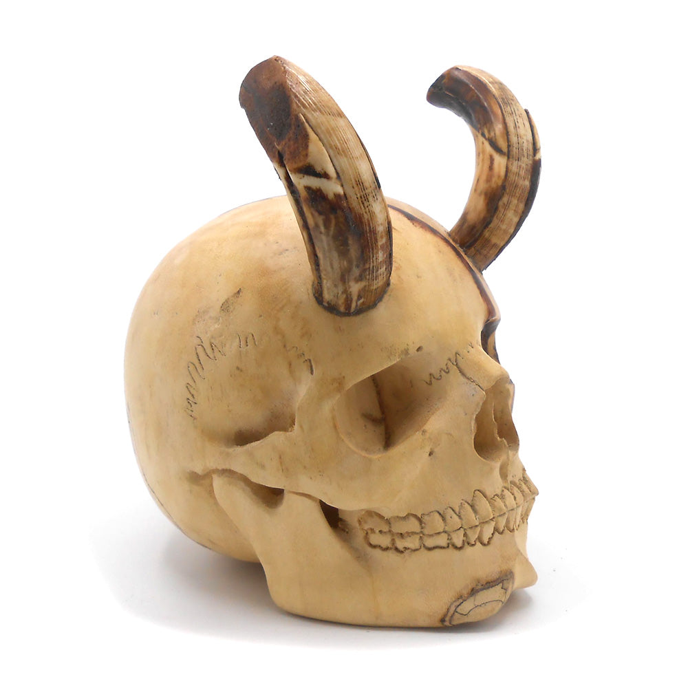 HAND CARVED WOOD AND BONE HORNS SKULL - MEDIUM - 'GOT THE HORN'