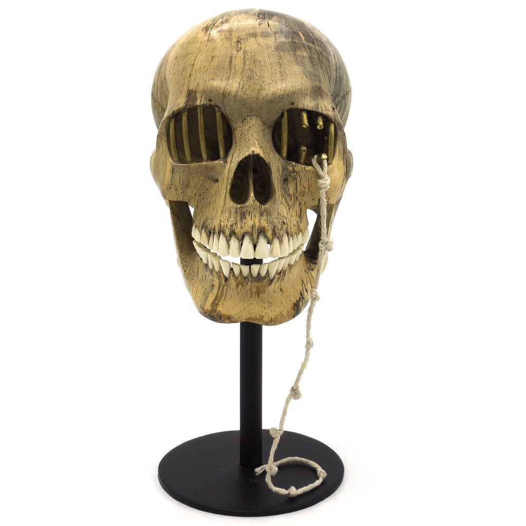 HAND CARVED WOOD AND BONE AND METAL SKULL - ESCAPE FROM YOUR MIND