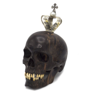 HAND CARVED WOOD SKULL KING FOR A DAY WITH METAL CROWN - SMALL