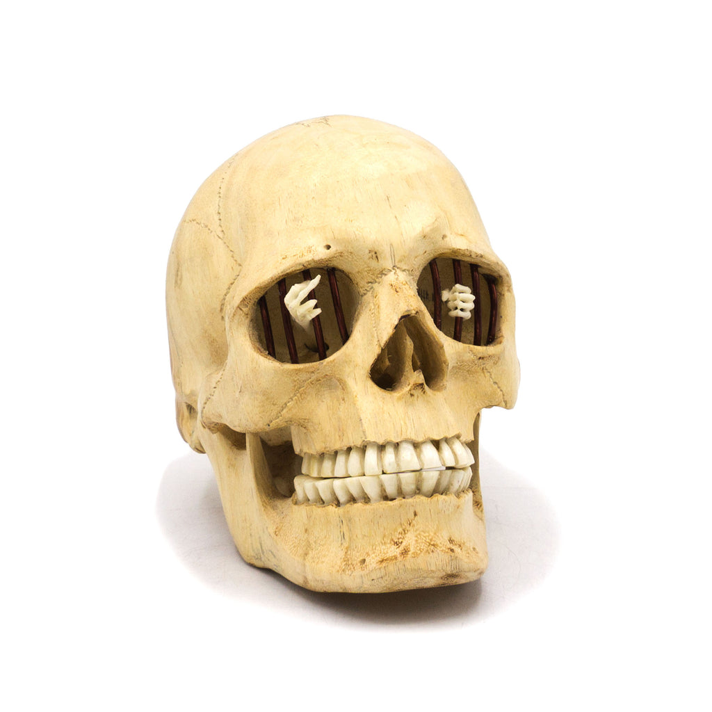 PREORDER - HAND CARVED WOOD, BONE AND METAL SKULL - MEDIUM - 'MONDAY MORNING'