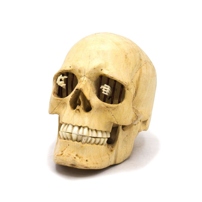 HAND CARVED WOOD, BONE AND METAL SKULL - MEDIUM - 'MONDAY MORNING'
