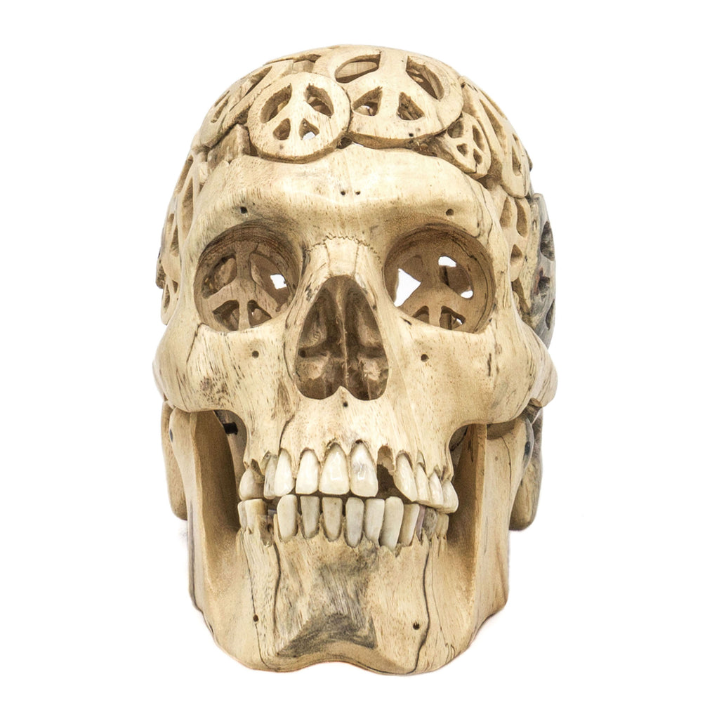Peace Handcarved Wood Filigree Skull Medium Size_1