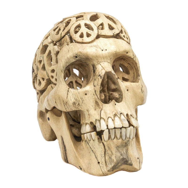PREORDER - HAND CARVED WOOD FILIGREE SKULL - MEDIUM - 'PEACE'