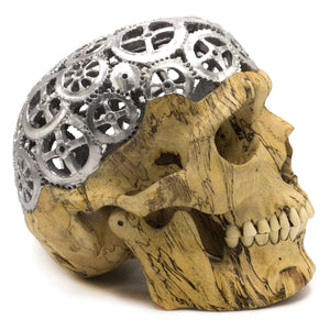 HAND CARVED WOOD FILIGREE WITH CHROME PAINT SKULL - LARGE - 'COGNITIVE BRAIN'