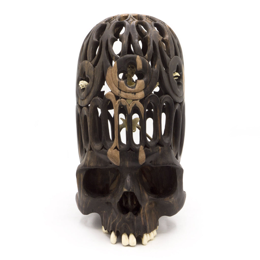 HAND CARVED WOOD AND BONE SKELETON SKULL - LARGE - 'FREE YOUR MIND'