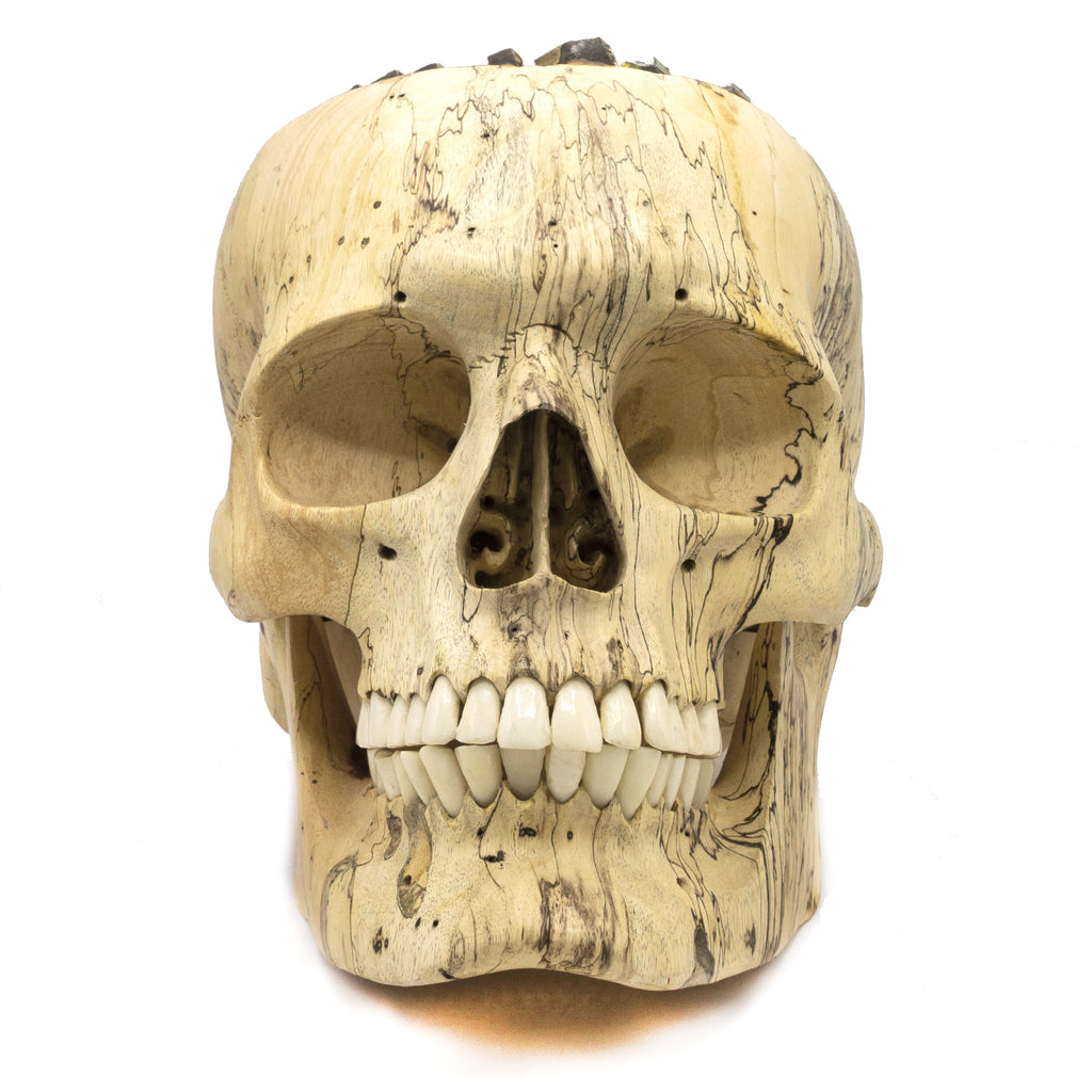 HAND CARVED WOOD AND BISMUTH SKULL - LARGE - 'BISMUTH OR PLEASURE'