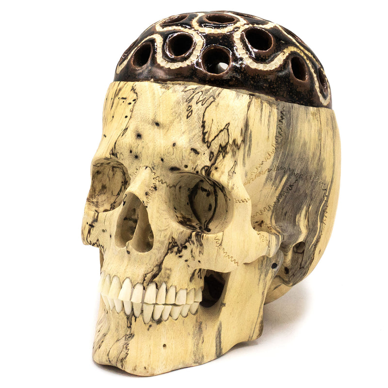 HAND CARVED WOOD AND UPCYCLED POTTERY SKULL - LARGE - 'BRAIN DEAD'