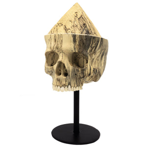 HAND CARVED WOOD SKULL - MEDIUM - 'PYRAMID LIFE CRISIS'