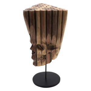 HAND CARVED UPCYCLED POOL CUE SKULL - 'GENE POOL'