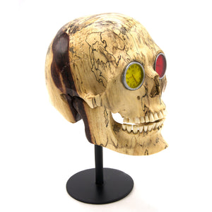 HAND CARVED WOOD WITH WATCH EYES SKULL - LARGE - 'EYE LIKE TWO WATCH'