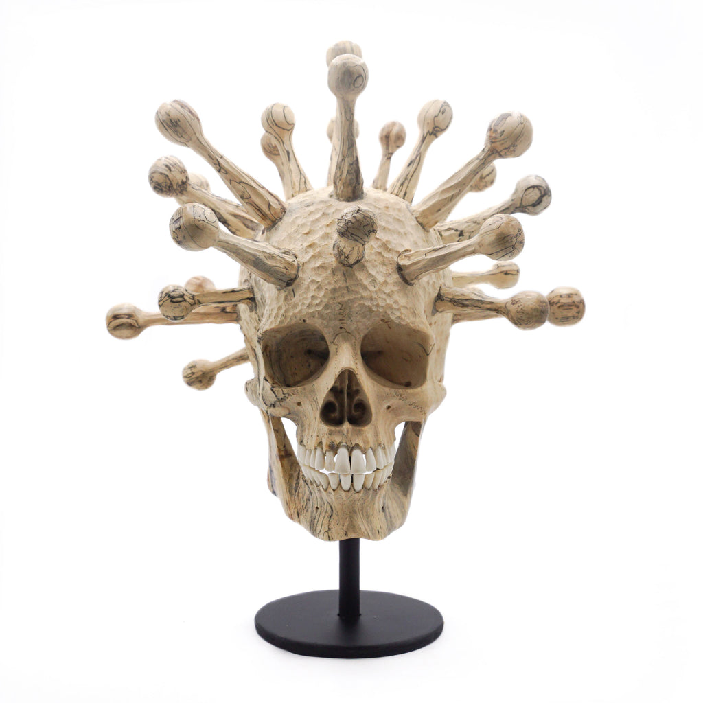 PREORDER - HAND CARVED WOOD SKULL - MEDIUM - 'FULLY COVID'