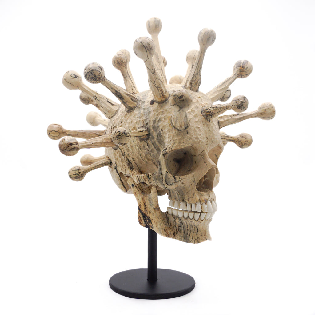 Fully Covid Hand carved wood skull medium size - side look.