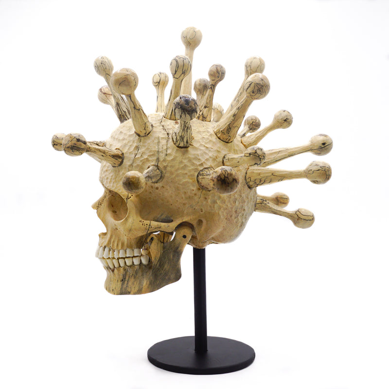 Fully Covid Hand carved wood skull medium size - left side look.